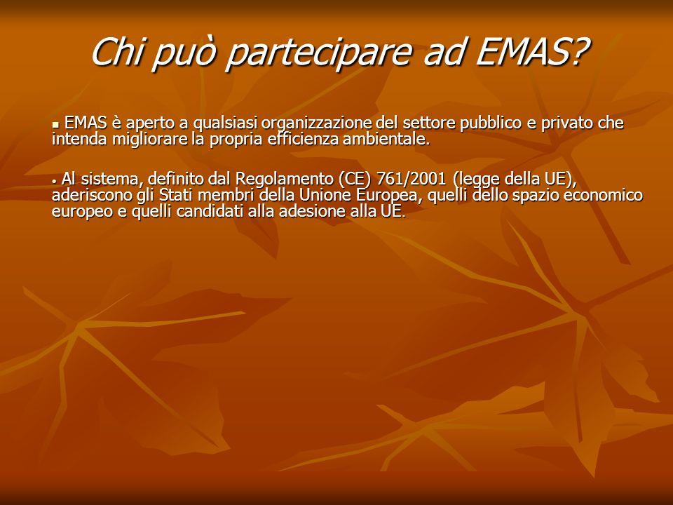 Chi può partecipare ad EMAS? EMAS è aperto a qualsiasi organizzazione del settore pubblico e privato che intenda migliorare la propria efficienza ambi