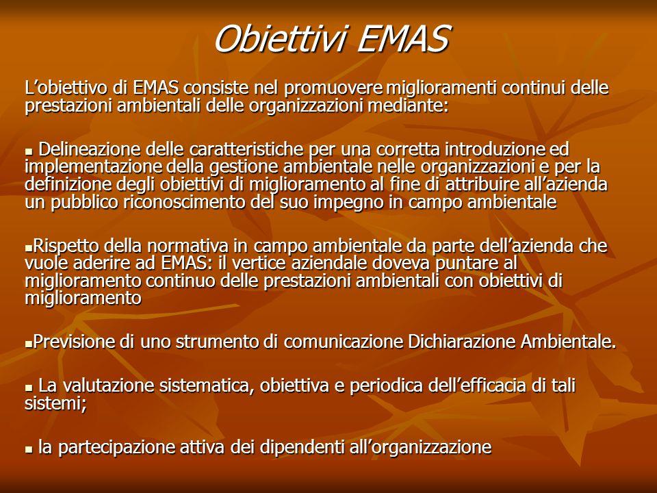 Obiettivi EMAS L'obiettivo di EMAS consiste nel promuovere miglioramenti continui delle prestazioni ambientali delle organizzazioni mediante: Delineaz