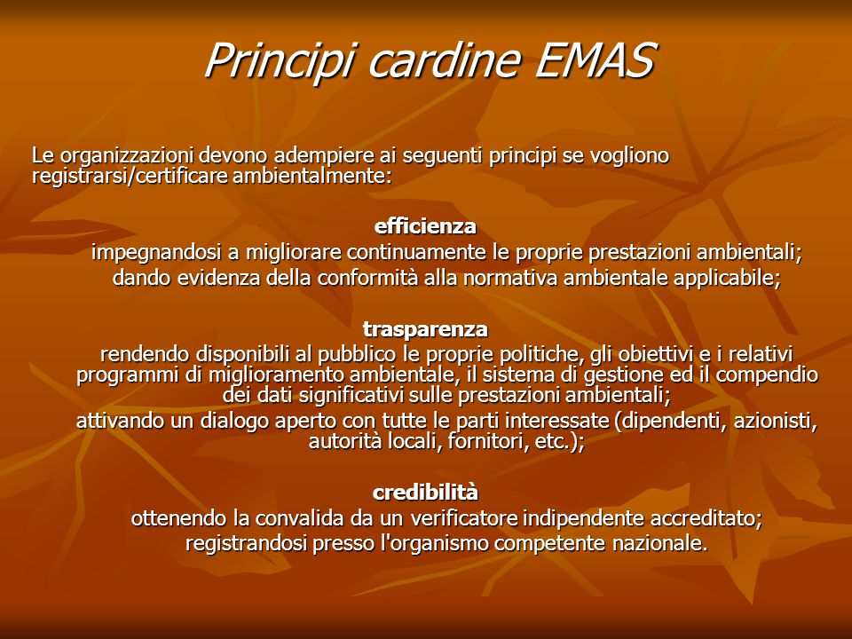 Principi cardine EMAS Le organizzazioni devono adempiere ai seguenti principi se vogliono registrarsi/certificare ambientalmente: efficienza impegnand
