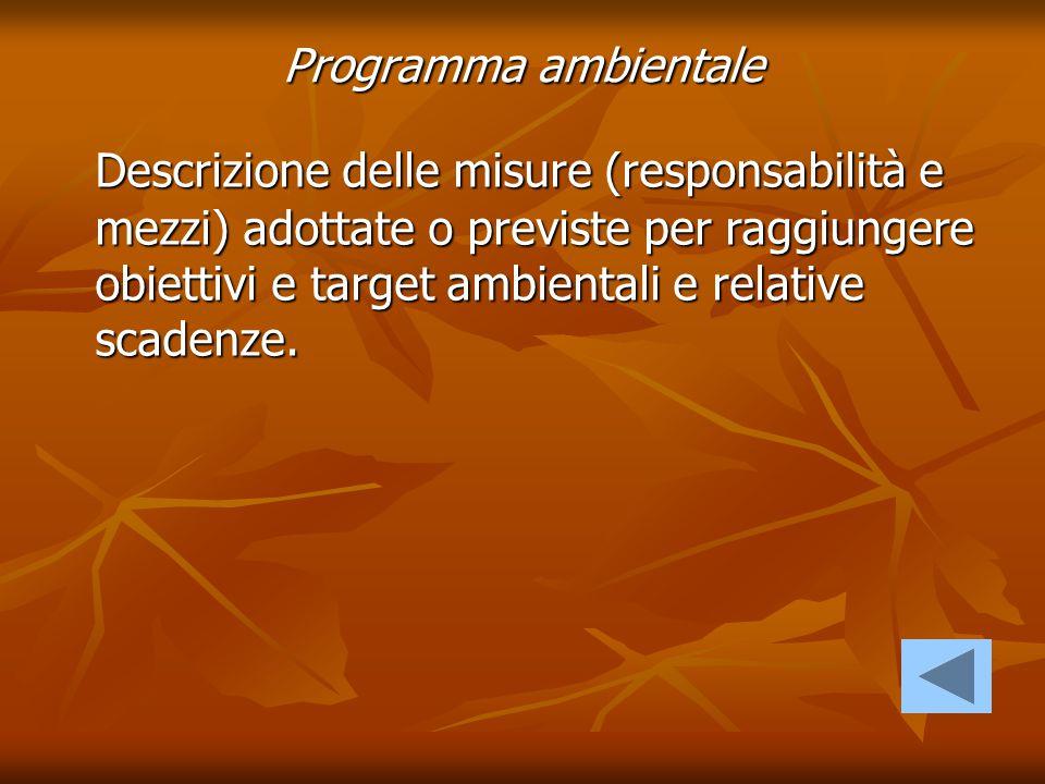 Programma ambientale Descrizione delle misure (responsabilità e mezzi) adottate o previste per raggiungere obiettivi e target ambientali e relative sc