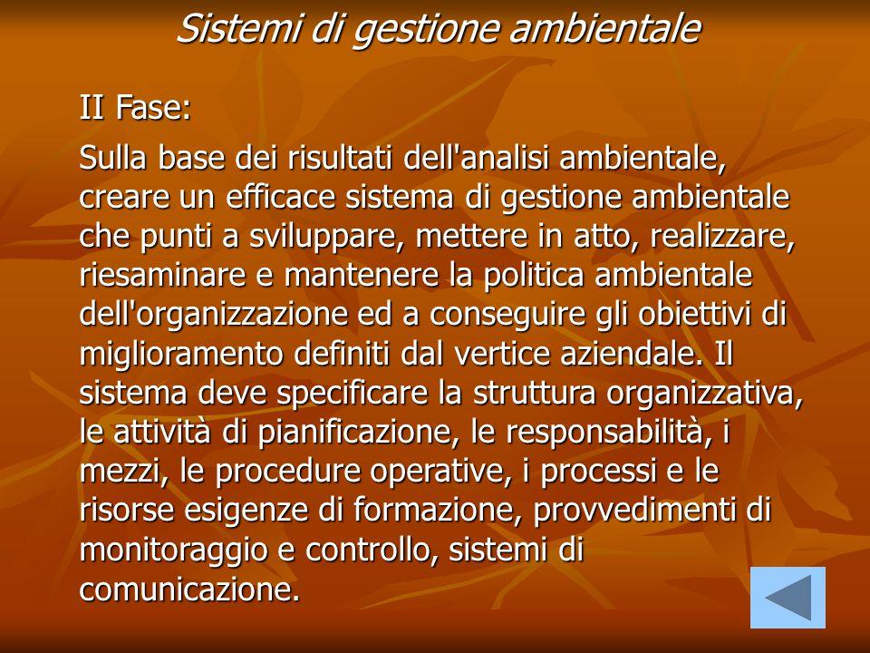 Sistemi di gestione ambientale II Fase: Sulla base dei risultati dell'analisi ambientale, creare un efficace sistema di gestione ambientale che punti