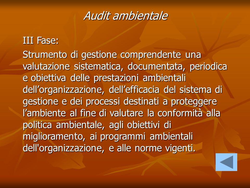 Audit ambientale III Fase: Strumento di gestione comprendente una valutazione sistematica, documentata, periodica e obiettiva delle prestazioni ambien