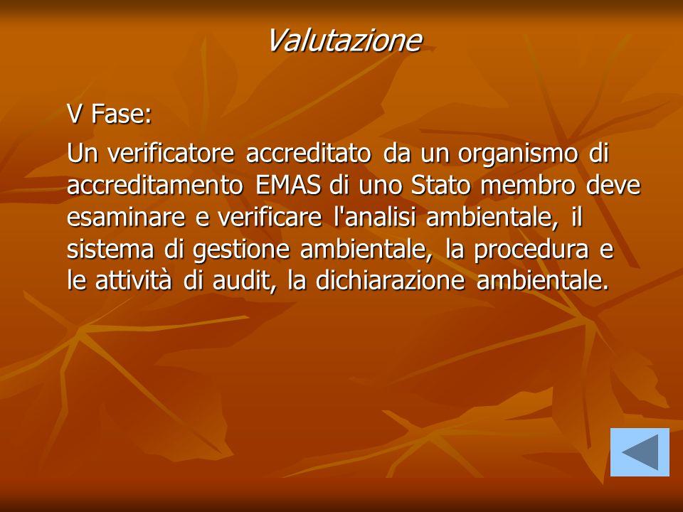 V Fase: Un verificatore accreditato da un organismo di accreditamento EMAS di uno Stato membro deve esaminare e verificare l'analisi ambientale, il si