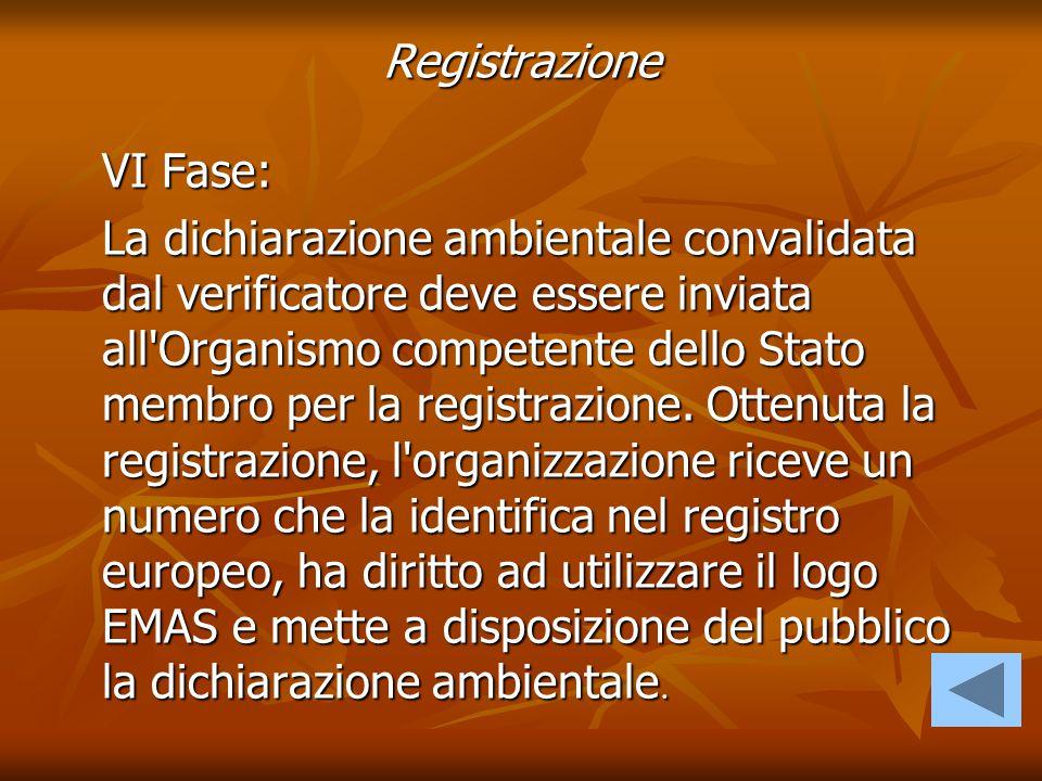 VI Fase: La dichiarazione ambientale convalidata dal verificatore deve essere inviata all'Organismo competente dello Stato membro per la registrazione
