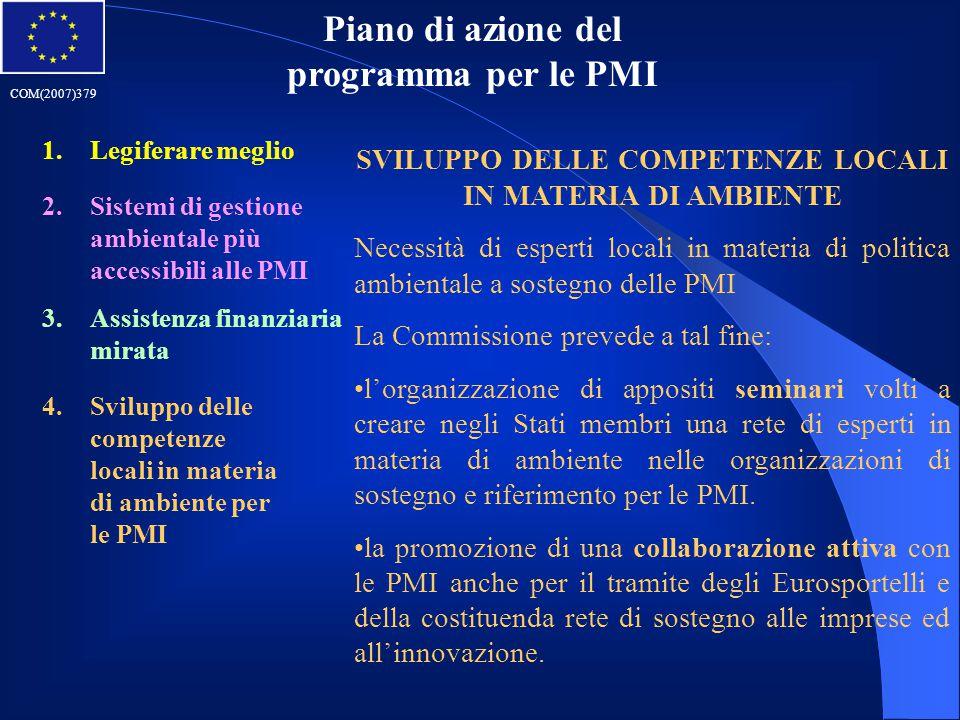 Piano di azione del programma per le PMI 1.Legiferare meglio 2.Sistemi di gestione ambientale più accessibili alle PMI 3.Assistenza finanziaria mirata