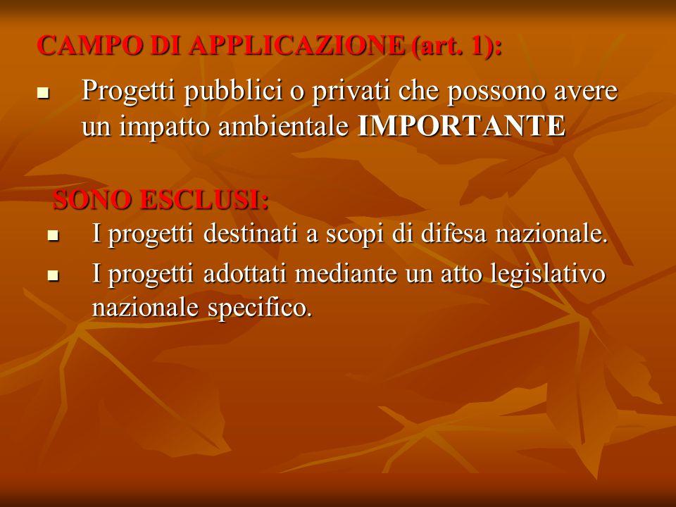 CAMPO DI APPLICAZIONE (art. 1): Progetti pubblici o privati che possono avere un impatto ambientale IMPORTANTE Progetti pubblici o privati che possono