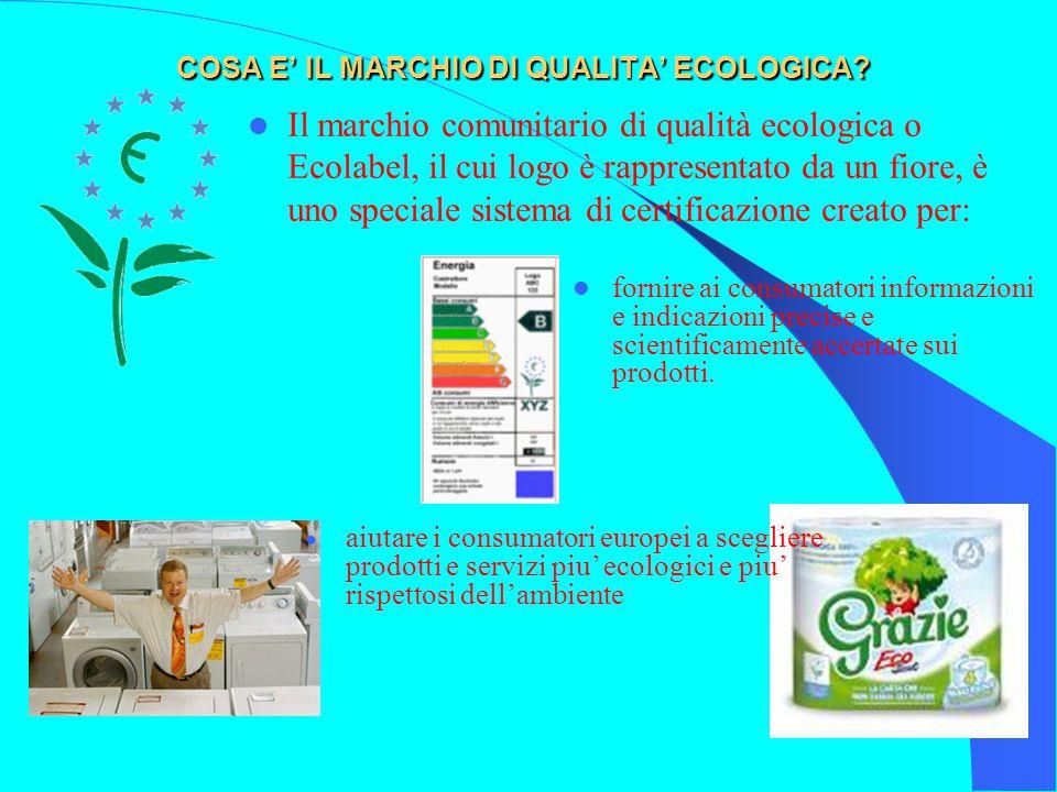 COSA E' IL MARCHIO DI QUALITA' ECOLOGICA? Il marchio comunitario di qualità ecologica o Ecolabel, il cui logo è rappresentato da un fiore, è uno speci