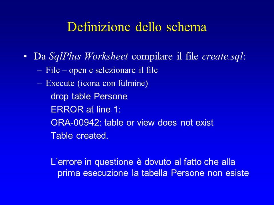 Definizione dello schema Da SqlPlus Worksheet compilare il file create.sql: –File – open e selezionare il file –Execute (icona con fulmine) drop table Persone ERROR at line 1: ORA-00942: table or view does not exist Table created.