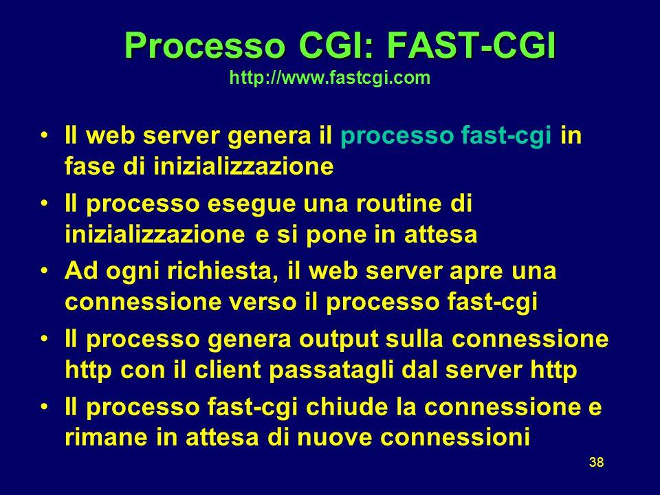 38 Processo CGI: FAST-CGI Processo CGI: FAST-CGI http://www.fastcgi.com Il web server genera il processo fast-cgi in fase di inizializzazione Il processo esegue una routine di inizializzazione e si pone in attesa Ad ogni richiesta, il web server apre una connessione verso il processo fast-cgi Il processo genera output sulla connessione http con il client passatagli dal server http Il processo fast-cgi chiude la connessione e rimane in attesa di nuove connessioni