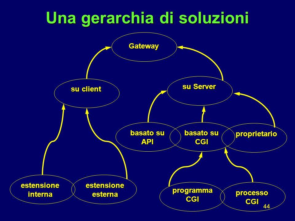 44 Una gerarchia di soluzioni Gateway su client su Server estensioneesterna basato su API estensioneinterna proprietario processo CGI programmaCGI basato su CGI