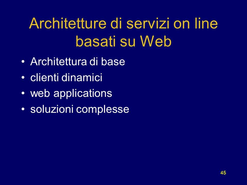 45 Architetture di servizi on line basati su Web Architettura di base clienti dinamici web applications soluzioni complesse