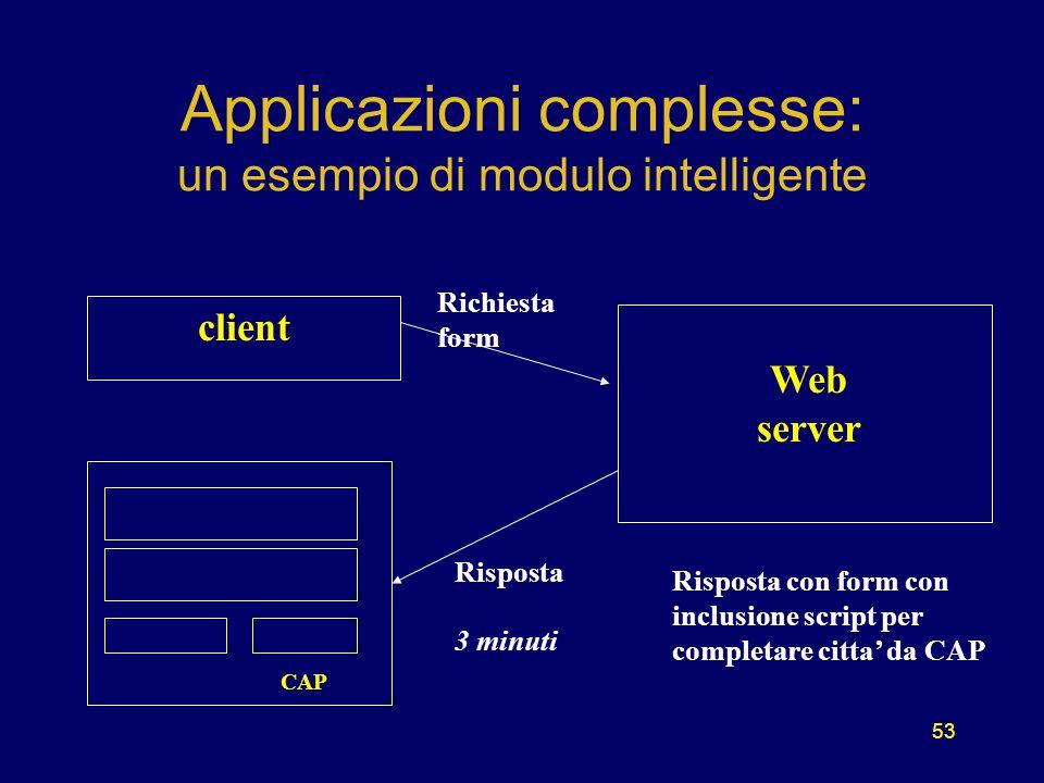 53 Applicazioni complesse: un esempio di modulo intelligente client CAP Web server Richiesta form Risposta 3 minuti Risposta con form con inclusione script per completare citta' da CAP