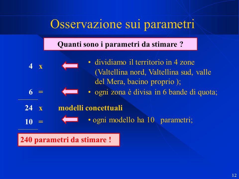 12 Osservazione sui parametri Quanti sono i parametri da stimare ? dividiamo il territorio in 4 zone (Valtellina nord, Valtellina sud, valle del Mera,