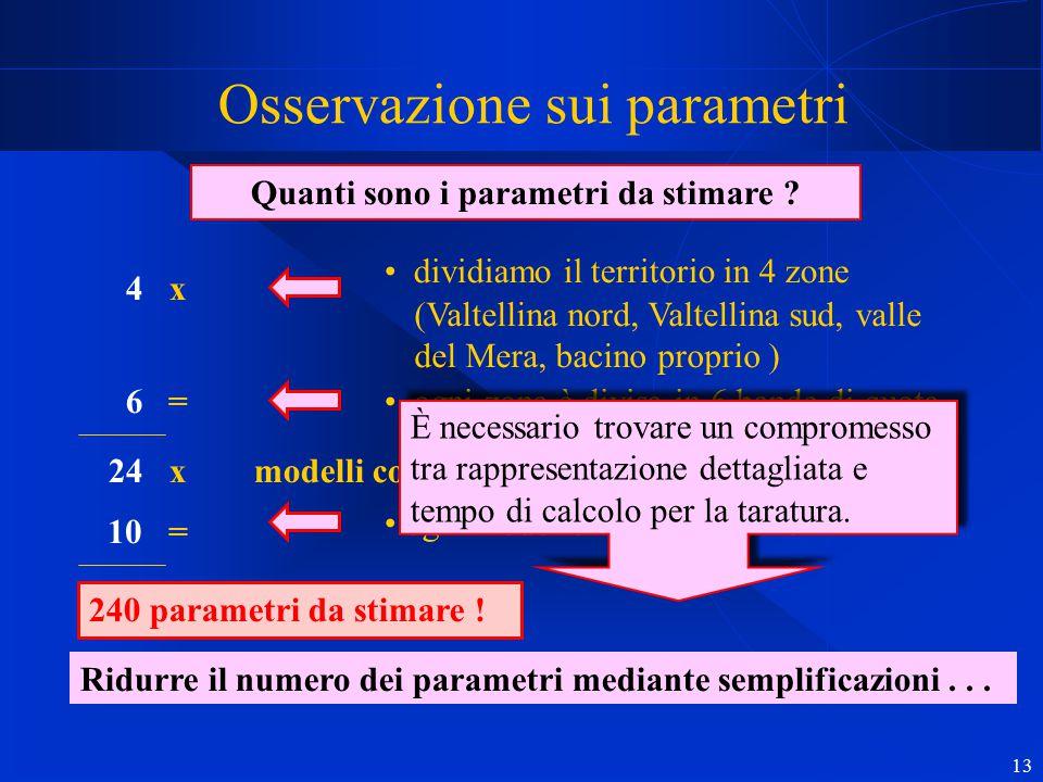 13 modelli concettuali Osservazione sui parametri Quanti sono i parametri da stimare ? dividiamo il territorio in 4 zone (Valtellina nord, Valtellina