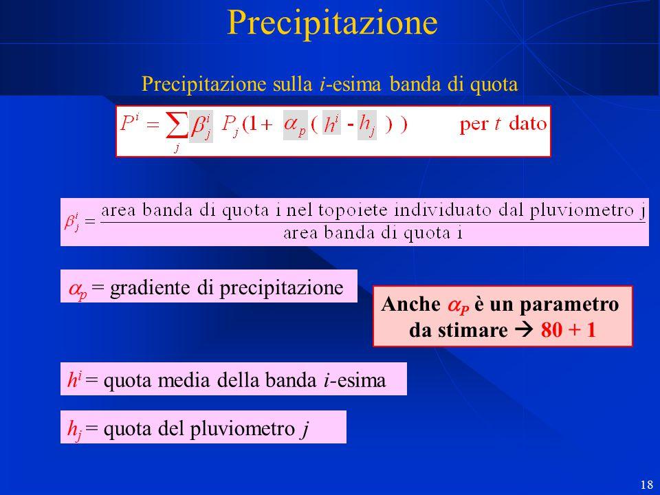 18 Precipitazione Precipitazione sulla i-esima banda di quota h j = quota del pluviometro j  p = gradiente di precipitazione Anche  P è un parametro