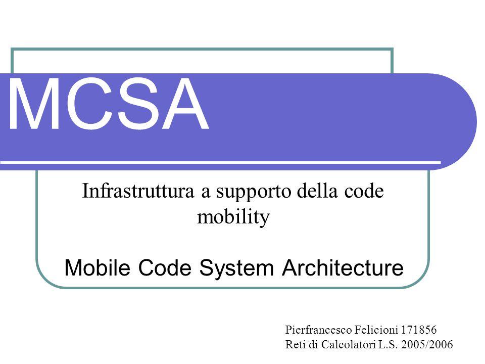 MCSA Mobile Code System Architecture Infrastruttura a supporto della code mobility Pierfrancesco Felicioni 171856 Reti di Calcolatori L.S.