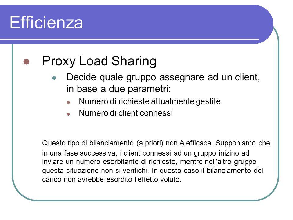 Efficienza Proxy Load Sharing Decide quale gruppo assegnare ad un client, in base a due parametri: Numero di richieste attualmente gestite Numero di client connessi Questo tipo di bilanciamento (a priori) non è efficace.
