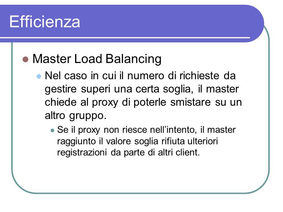 Efficienza Master Load Balancing Nel caso in cui il numero di richieste da gestire superi una certa soglia, il master chiede al proxy di poterle smistare su un altro gruppo.