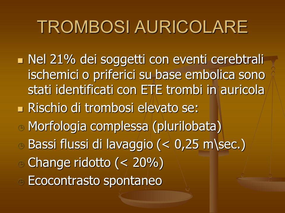 TROMBOSI AURICOLARE Nel 21% dei soggetti con eventi cerebtrali ischemici o priferici su base embolica sono stati identificati con ETE trombi in aurico