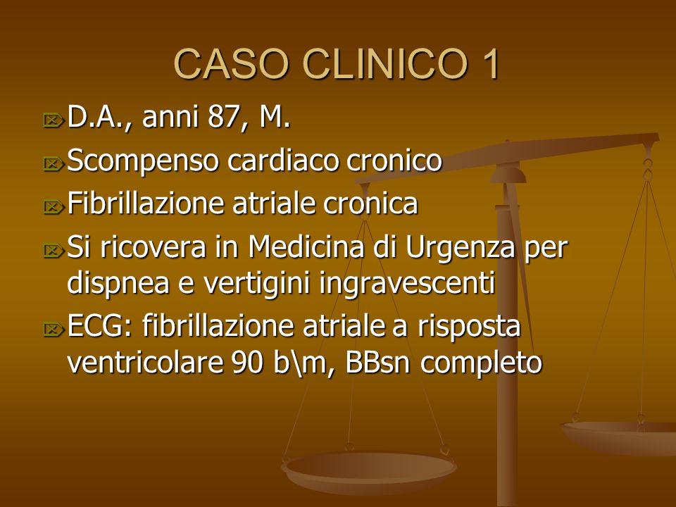 CASO CLINICO 1  D.A., anni 87, M.  Scompenso cardiaco cronico  Fibrillazione atriale cronica  Si ricovera in Medicina di Urgenza per dispnea e ver