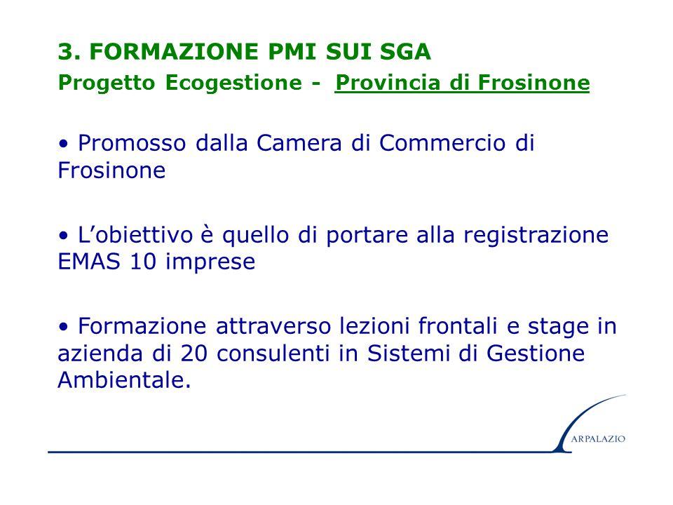 10 3. FORMAZIONE PMI SUI SGA Progetto Ecogestione - Provincia di Frosinone Promosso dalla Camera di Commercio di Frosinone L'obiettivo è quello di por