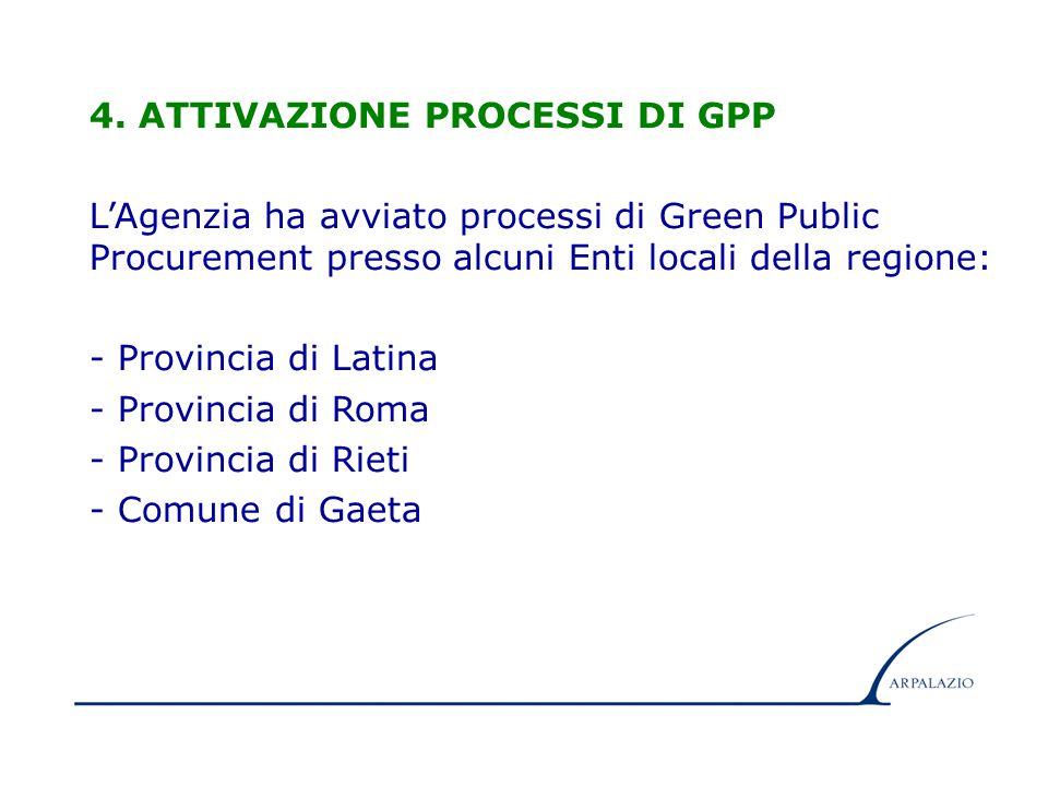 11 4. ATTIVAZIONE PROCESSI DI GPP L'Agenzia ha avviato processi di Green Public Procurement presso alcuni Enti locali della regione: - Provincia di La