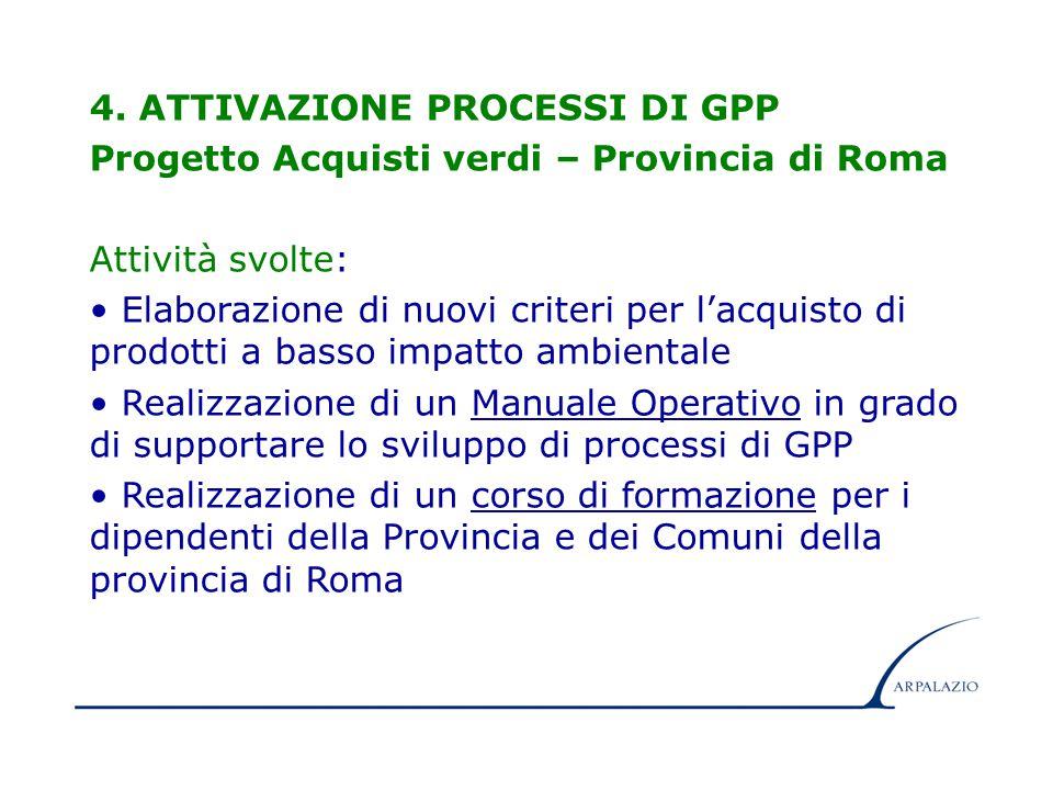 12 4. ATTIVAZIONE PROCESSI DI GPP Progetto Acquisti verdi – Provincia di Roma Attività svolte: Elaborazione di nuovi criteri per l'acquisto di prodott