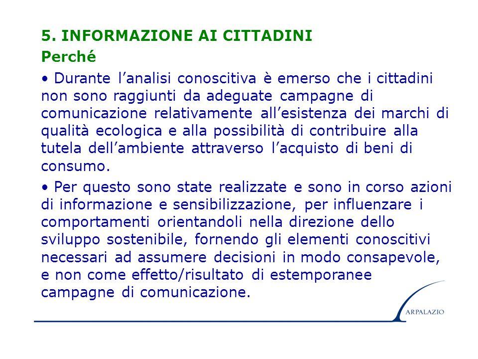 15 5. INFORMAZIONE AI CITTADINI Perché Durante l'analisi conoscitiva è emerso che i cittadini non sono raggiunti da adeguate campagne di comunicazione