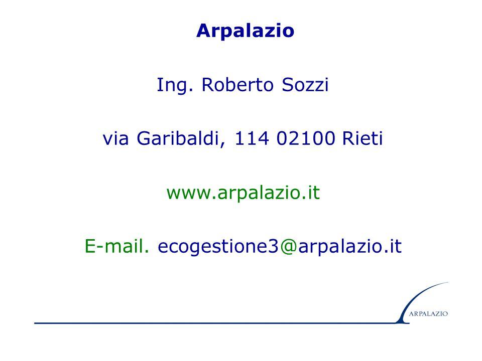 18 Arpalazio Ing. Roberto Sozzi via Garibaldi, 114 02100 Rieti www.arpalazio.it E-mail. ecogestione3@arpalazio.it
