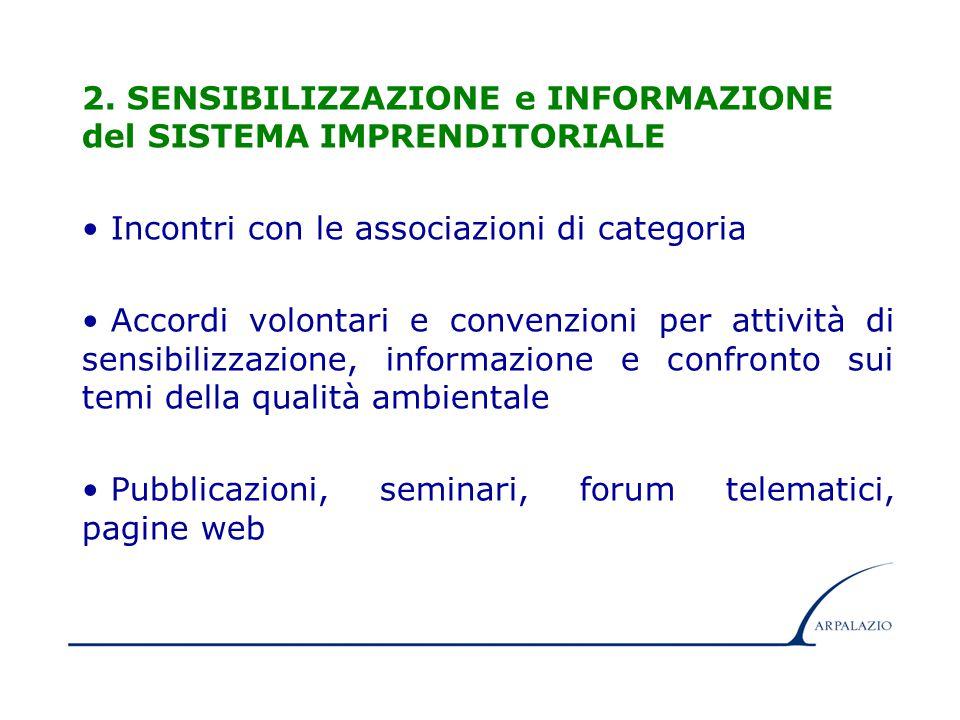 6 2. SENSIBILIZZAZIONE e INFORMAZIONE del SISTEMA IMPRENDITORIALE Incontri con le associazioni di categoria Accordi volontari e convenzioni per attivi