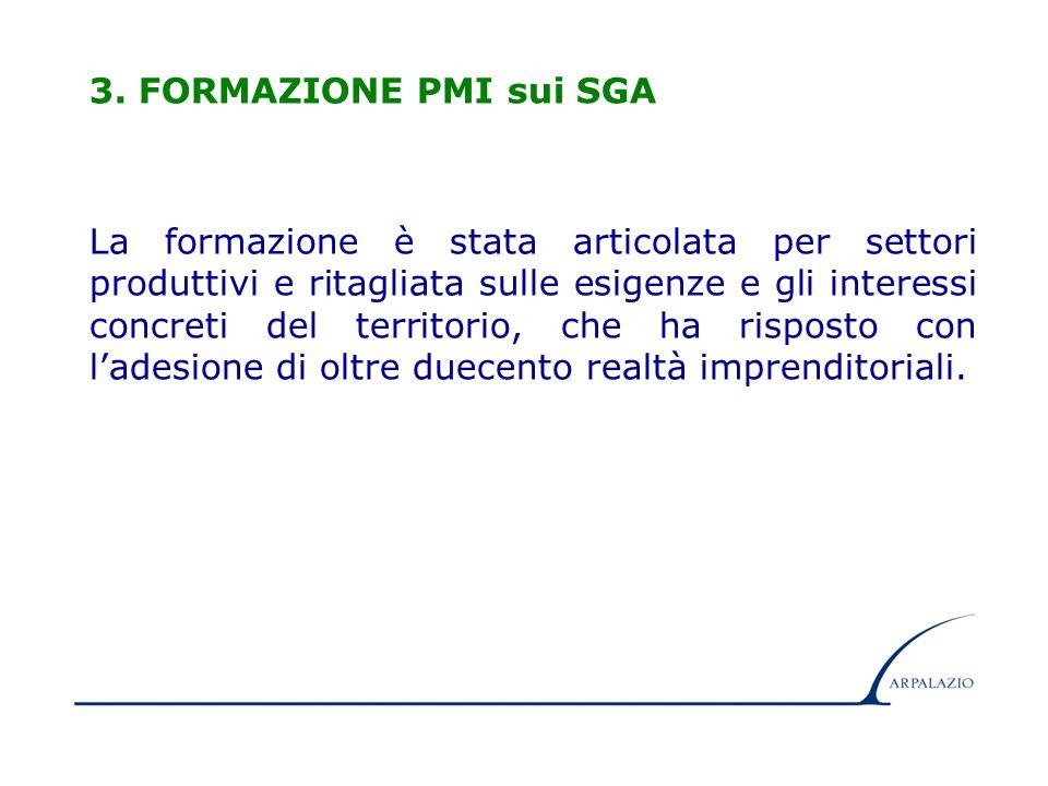 8 3. FORMAZIONE PMI sui SGA La formazione è stata articolata per settori produttivi e ritagliata sulle esigenze e gli interessi concreti del territori