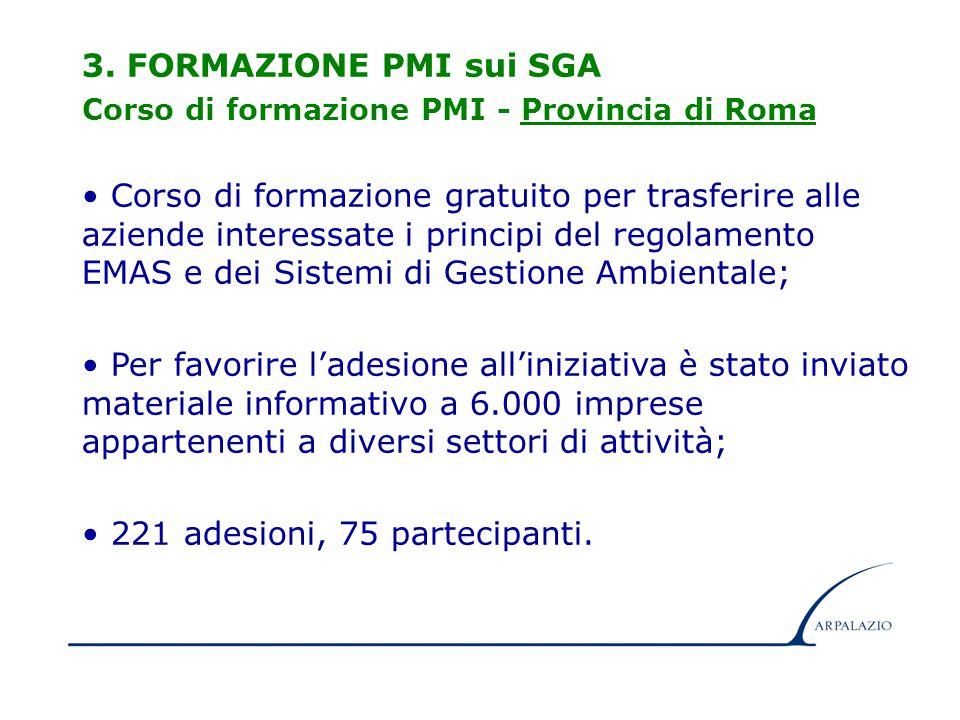9 3. FORMAZIONE PMI sui SGA Corso di formazione PMI - Provincia di Roma Corso di formazione gratuito per trasferire alle aziende interessate i princip