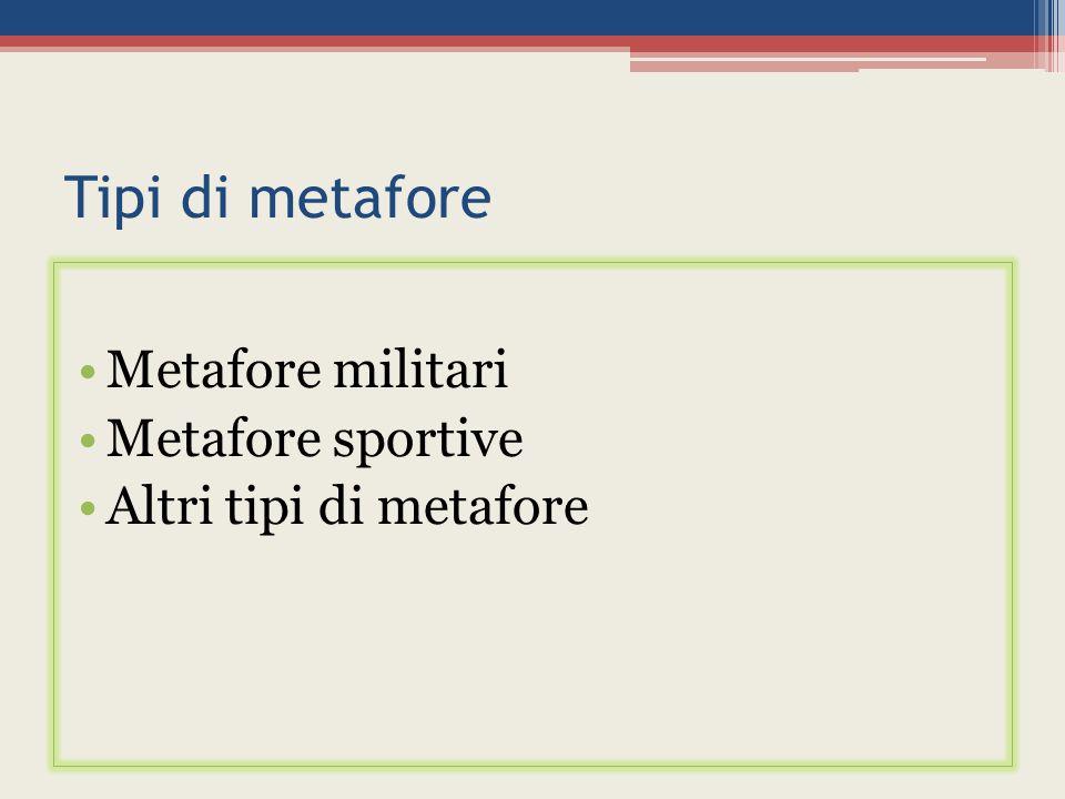 Tipi di metafore Metafore militari Metafore sportive Altri tipi di metafore