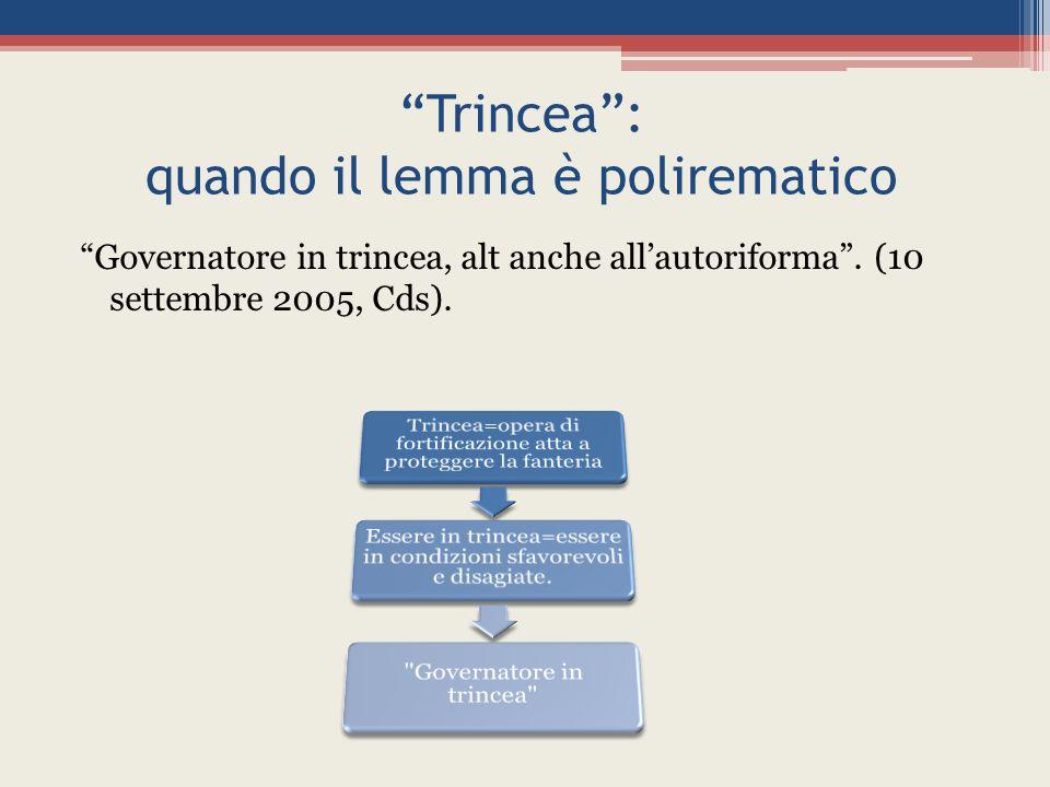 Trincea : quando il lemma è polirematico Governatore in trincea, alt anche all'autoriforma .