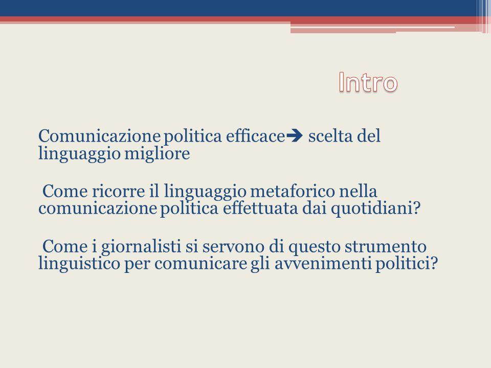 Comunicazione politica efficace  scelta del linguaggio migliore Come ricorre il linguaggio metaforico nella comunicazione politica effettuata dai quotidiani.