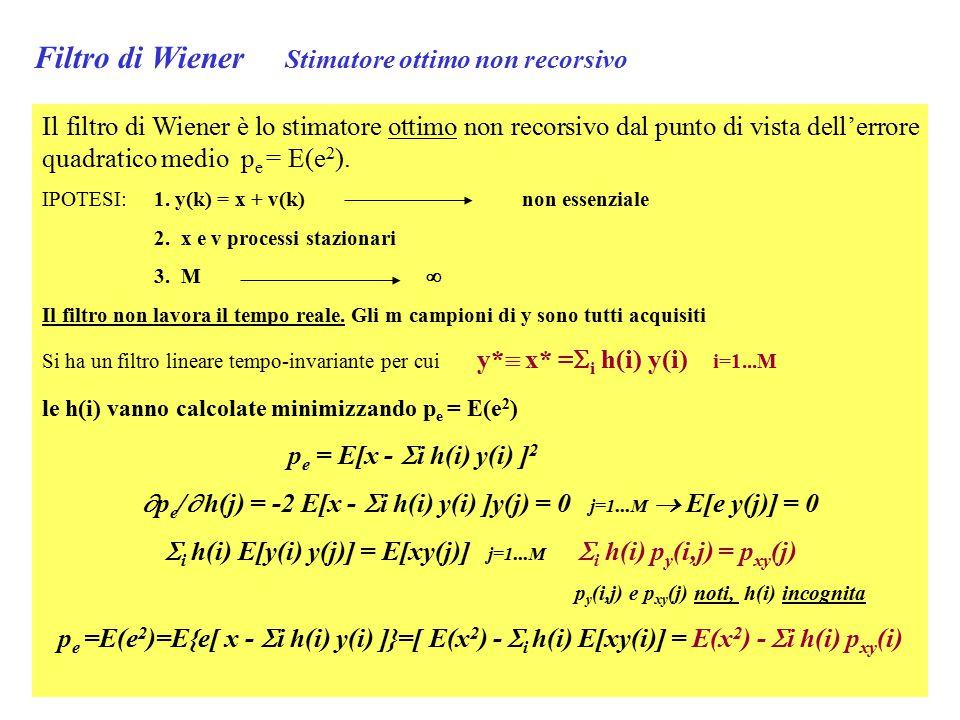 Filtro di Wiener Stimatore ottimo non recorsivo Il filtro di Wiener è lo stimatore ottimo non recorsivo dal punto di vista dell'errore quadratico medio p e = E(e 2 ).