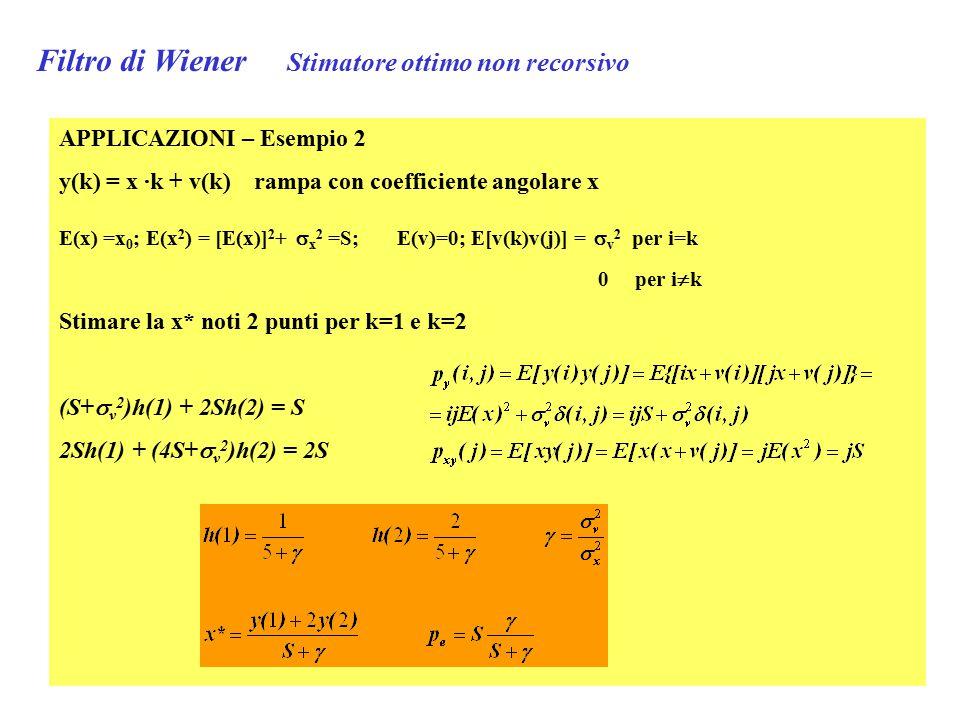 Filtro di Wiener Stimatore ottimo non recorsivo SVANTAGGI DELLA FORMULAZIONE NON RECORSIVA I principali svantaggi nell'applicazione della formulazione non recorsiva del filtro di Wiener sono: 1.Richiede la conoscenza a priori della P y e della p xy.