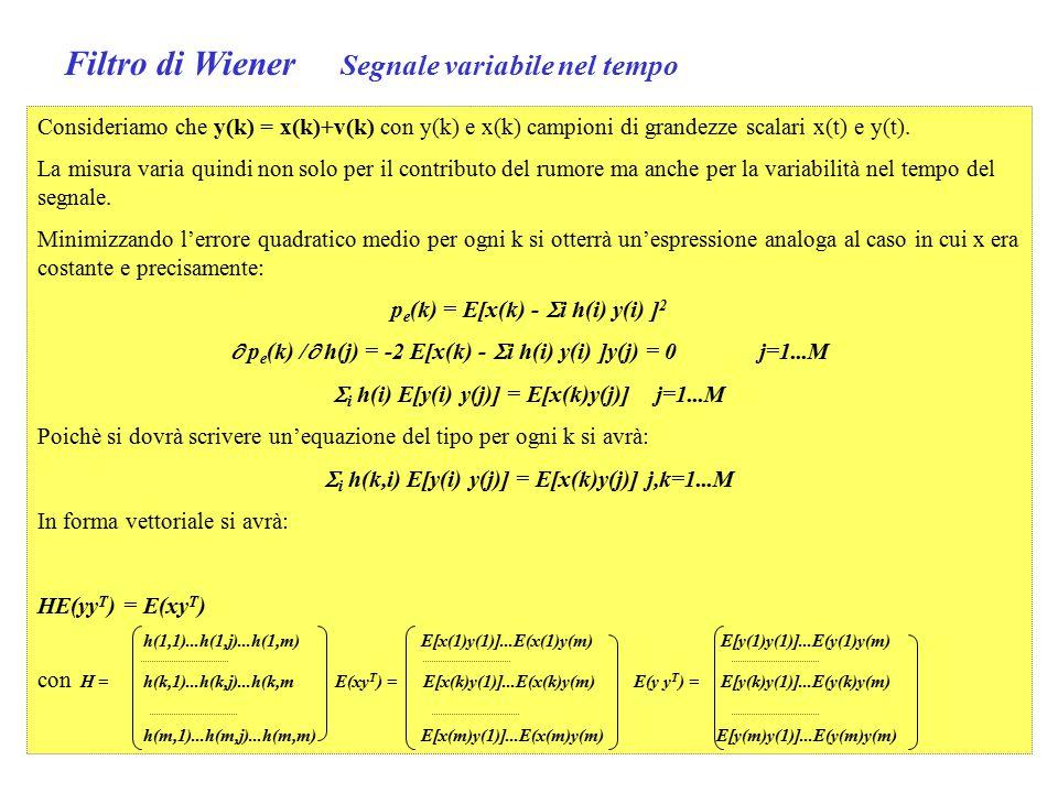Filtro di Wiener Segnale variabile nel tempo Consideriamo che y(k) = x(k)+v(k) con y(k) e x(k) campioni di grandezze scalari x(t) e y(t).