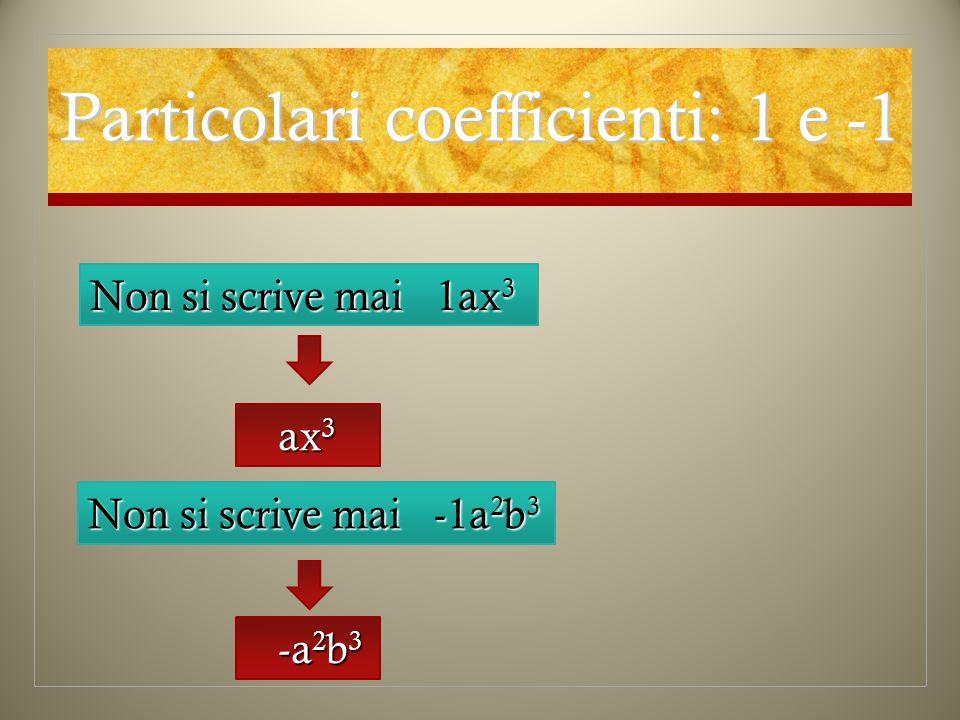 Particolari coefficienti: 1 e -1 Non si scrive mai 1ax 3 ax 3 ax 3 Non si scrive mai -1a 2 b 3 -a 2 b 3 -a 2 b 3