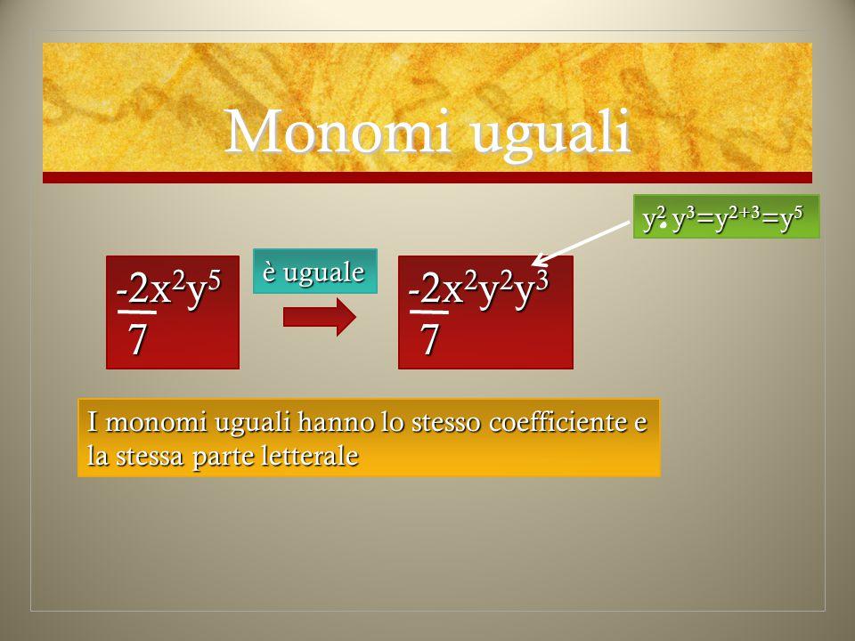 Monomi uguali -2x 2 y 5 7 è uguale -2x 2 y 2 y 3 7 y 2 y 3 =y 2+3 =y 5 I monomi uguali hanno lo stesso coefficiente e la stessa parte letterale