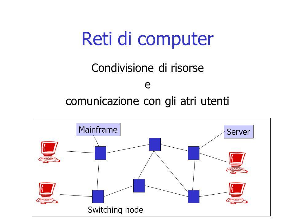 Reti di computer Condivisione di risorse e comunicazione con gli atri utenti Mainframe Server Switching node