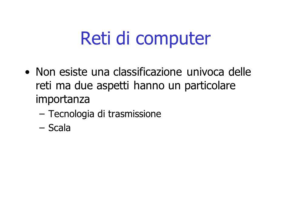 Reti di computer Non esiste una classificazione univoca delle reti ma due aspetti hanno un particolare importanza –Tecnologia di trasmissione –Scala