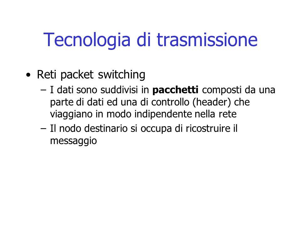 Tecnologia di trasmissione Reti packet switching –I dati sono suddivisi in pacchetti composti da una parte di dati ed una di controllo (header) che viaggiano in modo indipendente nella rete –Il nodo destinario si occupa di ricostruire il messaggio