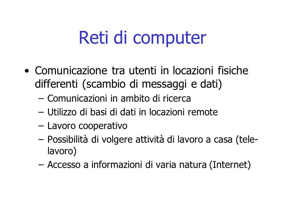 Reti di computer Comunicazione tra utenti in locazioni fisiche differenti (scambio di messaggi e dati) –Comunicazioni in ambito di ricerca –Utilizzo d