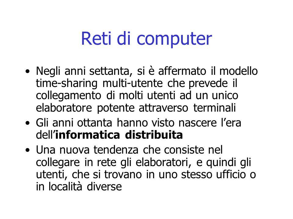 Reti di computer Negli anni settanta, si è affermato il modello time-sharing multi-utente che prevede il collegamento di molti utenti ad un unico elab