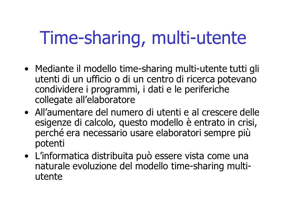Time-sharing, multi-utente Mediante il modello time-sharing multi-utente tutti gli utenti di un ufficio o di un centro di ricerca potevano condividere i programmi, i dati e le periferiche collegate all'elaboratore All'aumentare del numero di utenti e al crescere delle esigenze di calcolo, questo modello è entrato in crisi, perché era necessario usare elaboratori sempre più potenti L'informatica distribuita può essere vista come una naturale evoluzione del modello time-sharing multi- utente