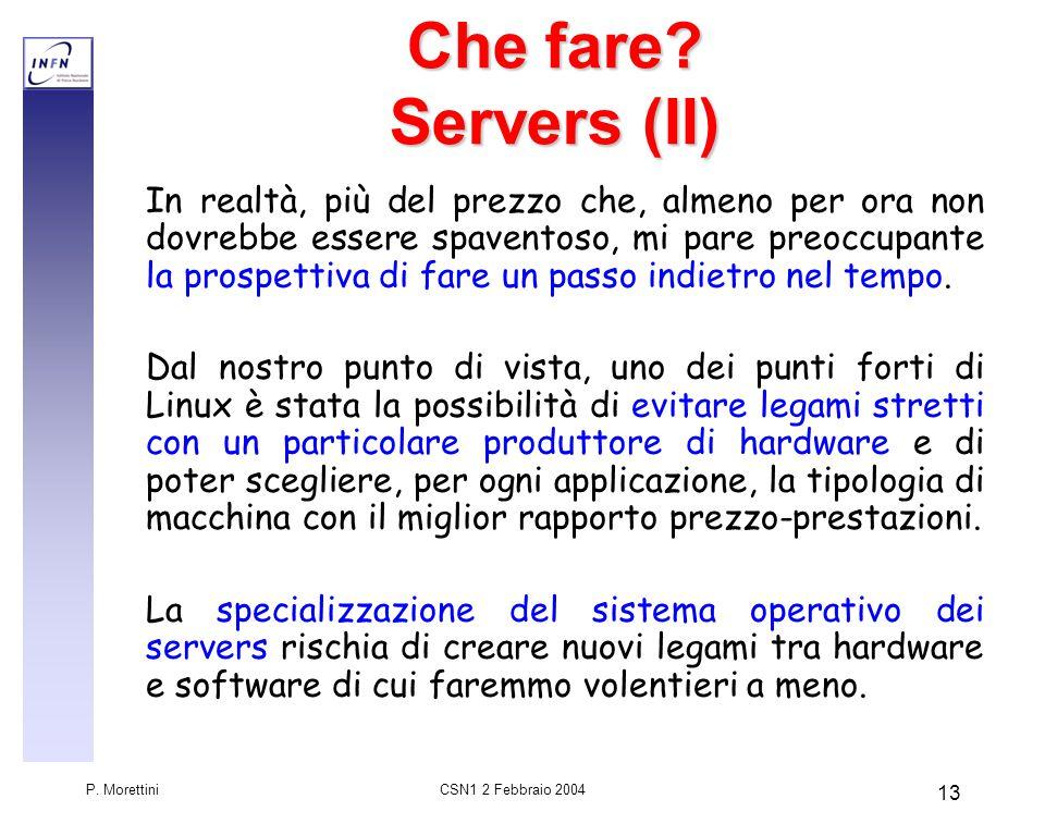CSN1 2 Febbraio 2004 P.Morettini 14 Che fare.