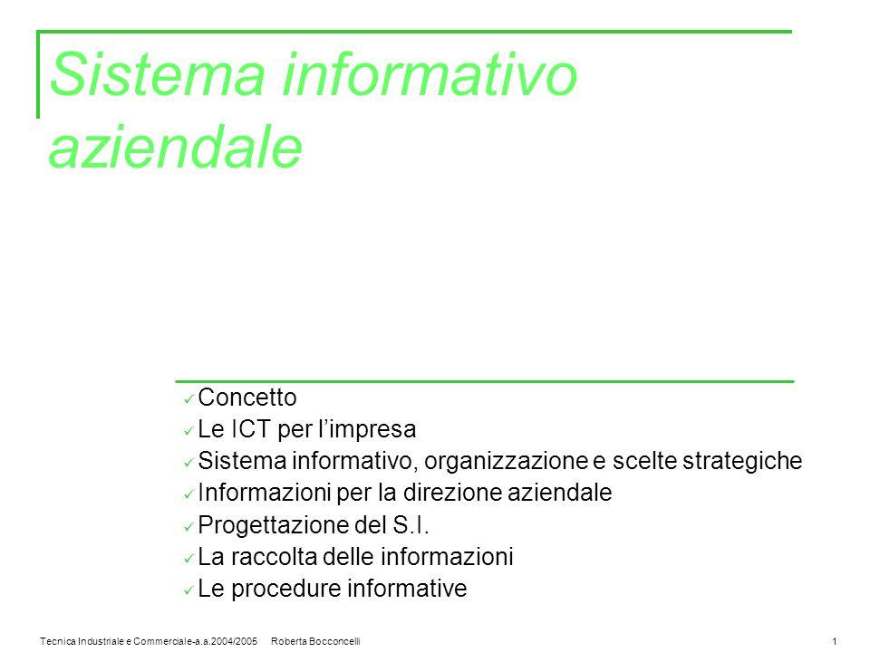 Tecnica Industriale e Commerciale-a.a.2004/2005 Roberta Bocconcelli1 Sistema informativo aziendale Concetto Le ICT per l'impresa Sistema informativo, organizzazione e scelte strategiche Informazioni per la direzione aziendale Progettazione del S.I.