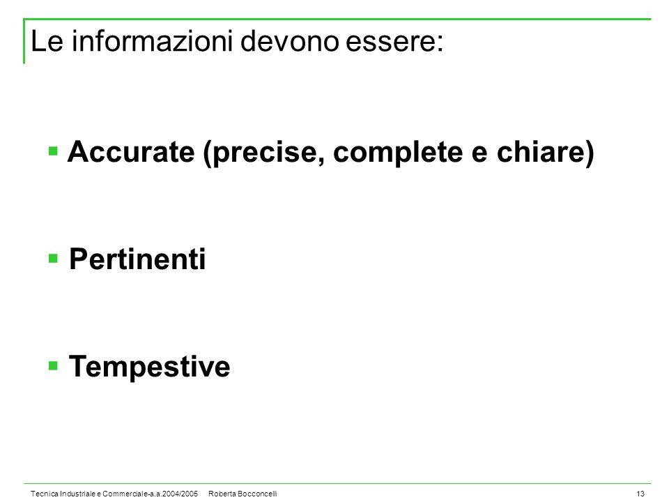 Tecnica Industriale e Commerciale-a.a.2004/2005 Roberta Bocconcelli13  Accurate (precise, complete e chiare)  Pertinenti  Tempestive Le informazioni devono essere: