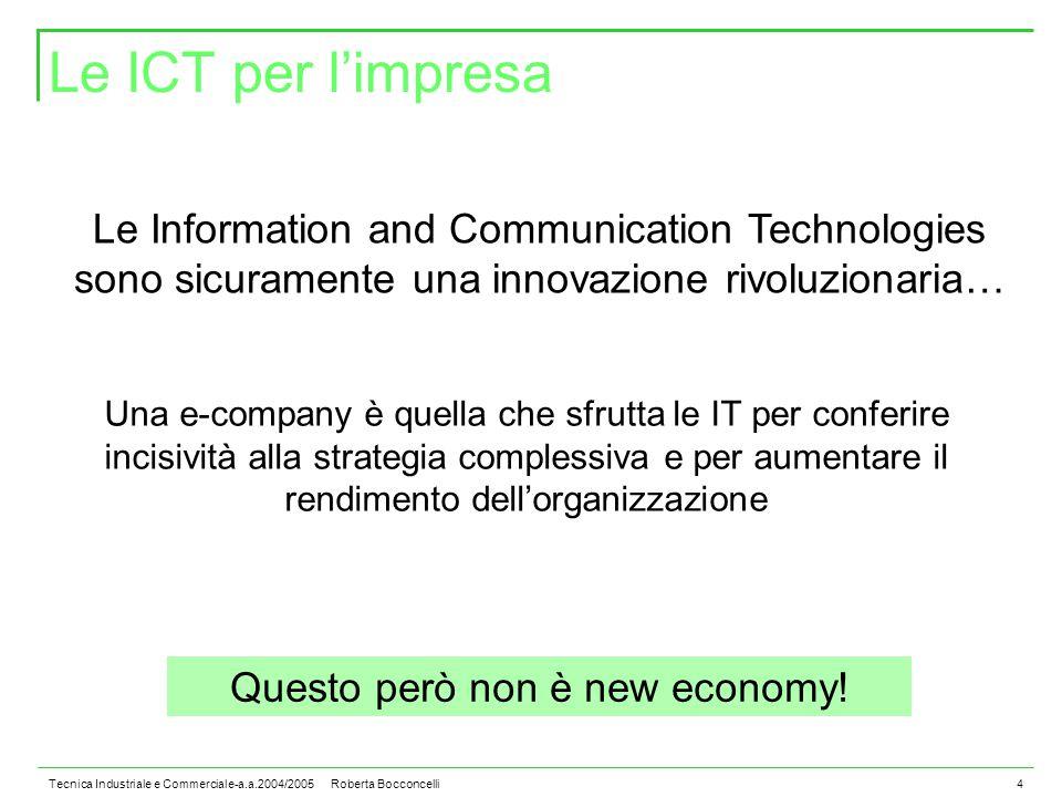 Tecnica Industriale e Commerciale-a.a.2004/2005 Roberta Bocconcelli4 Le ICT per l'impresa Le Information and Communication Technologies sono sicuramente una innovazione rivoluzionaria… Questo però non è new economy.